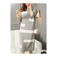 Rotita Color Block Long Sleeve Round Neck Sweater Dress (£31) ❤ liked on Polyvore featuring dresses, grey, long sleeve colorblock dress, long sleeve color block dress, long-sleeve sweater dresses, color block dress and knee length dresses