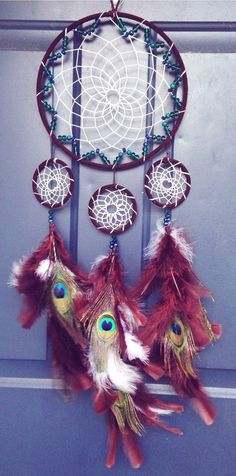 Beaded Peacock Dreamcatcher by Oceanlovee2 on Etsy