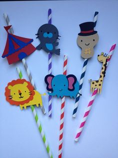 12 Circus Themed Party Straws by MiaSophias on Etsy