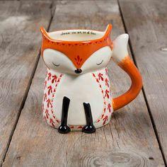 Diese Folk Art Tassen in Form eines lustigen Fuchses bringen einen zum Lächeln jedes Mal, wenn man davon trinkt.... die Form ist von Hand hergestellt, zudem ist innen am Rand ein Spruch oder Wort aufgedruckt. Die Tassen sind...