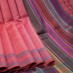 Rema Kumar Froly Pink Printed Dupion Tussar Silk Saree with Stripes 10001721 - AVISHYA