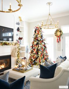 Christmas living room decor with blue and white and red accents. Christmas Living Rooms, Christmas Room, Christmas Trees, Christmas Decorations, The Best Of Christmas, Blue Wall Colors, Blue Living Room Decor, Beautiful Dining Rooms, Room Tour