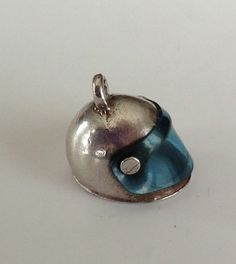 Vintage Sterling Silver Charm Motorcycle Helmet Blue Shield Old Nuvo ...Asking price: $23
