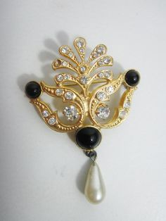 Vintage Brooch Gold Black and Rhinestone by FairSails on Etsy, $6.75