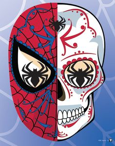 Friendly Neighborhood Spiderman Sugar Skull Print inspired by the character from the Marvel comics and movies You get: A high quality 6 x 8 print, Spiderman Tattoo, Marvel Tattoos, Sugar Skull Tattoos, Sugar Skull Art, Sugar Skulls, Character Drawing, Comic Character, Caveira Mexicana Tattoo, Comic Tattoo