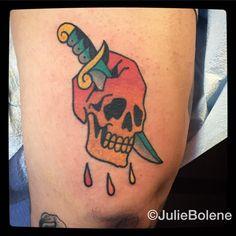 skull tattoo by Julie Bolene
