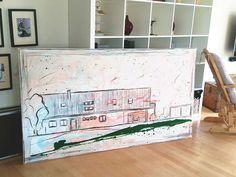 Ein skizziertes Haus (des Eigentümers) auf großer Leinwand. Geben SIe mir gerne Ihren Auftrag. Seit 2000 habe ich mich darauf spezialisiert. www.wachsmannbilder.de