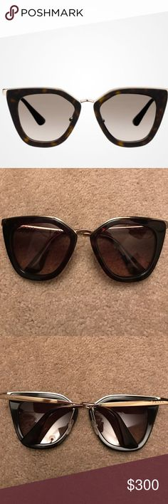 prada sunglasses prada spr53s sunglasses. color 2au-3d0 dark tortoise & gold. size 52-21-140 adjustable nose pads. comes with case and cloth. great condition, no scratches, like brand new! made in italy Prada Accessories Sunglasses