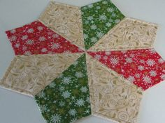 Christmas Star Red Green Gold Quilted Table by countrysewing4U