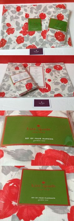Mixed Items and Lots 15738: Kate Spade Placemats Napkins Set 8 Pc (4 Each) Rose Garden Coral And Gray Colors -> BUY IT NOW ONLY: $48 on eBay!
