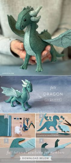 Cute Crafts, Crafts To Do, Felt Crafts, Fabric Crafts, Sewing Toys, Sewing Crafts, Sewing Projects, Craft Projects, Felt Dragon