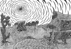 Genesis by Nick Rendall Pen Art, My Drawings, A4, Larger, Wildlife, Africa, Sketches, Illustration, Image