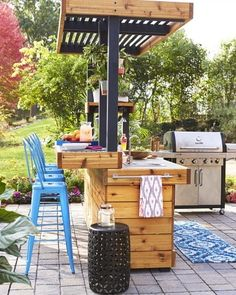Take advantage of warmer temps with a DIY outdoor kitchen.  It features a working sink, an all-weather countertop, a seating counter for guests and storage for glasses. Click this pin for step-by-step instructions to build your own.