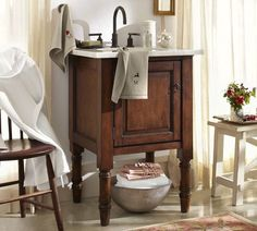 "Siena Single Sink Console | Pottery Barn  Good for Down Stairs bath, not sure about the ""farmhouse"" but I love the rest"