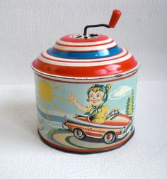 Vintage Tin Toy Wind Up Music Box. Retro 1950's door VasioniVintage op Etsy