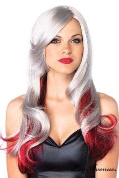 Perruque de cheveux longs en dégradée gris rouge! Magnifique perruque dans un look longs cheveux. Elle vous permettra de changer votre style et personnalité en un instant. Perruque de cheveux longs ondulés façon tie & die bicolore. Frange mi-longue sur côté droit. Lanière élastique réglable pour une mise en place facile! 1. Finition colorée et brillante. Matière synthétique 100% Olefin et soyeuse. Un dégradé gris rouge, sympathique pour accessoiriser une tenue clubwear.