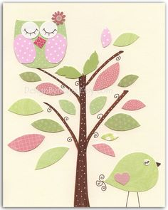 Baby girl nursery, Nursery wall art print, Baby girl room decor..baby owl..light pink light green match to the colors of Hayley pottery barn
