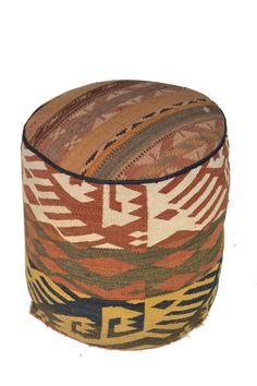 Rug Pouf / Rug Sitting Stool / Rug Ottoman / Kilim Sitting Stool / Stools # 44