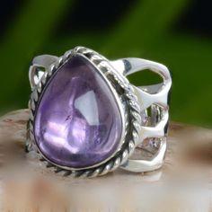 DESIGNER 925 SOLID STERLING SILVER AMETHYST RING 5.87g DJR10643 SZ-7 #Handmade #Ring