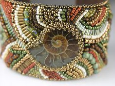 Ammonite - Bead Embroidered Cuff. $245.00, via Etsy.