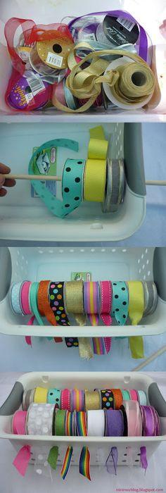 DIY Ribbon Basket Storage - great idea for organizing that tangled ribbon mess!