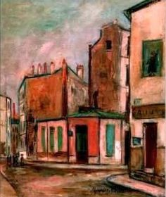 """Maurice Utrillo  """" Maison Rose """" in Montmarte. Utrillo born as Maurice Valadon,  1883-1955, was a French cityscapes painter"""