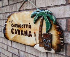 backyard cabana Colorful Backyard Cabana Signs - Tiki Bar Signage for Decks & Ratios, Tiki and Pool Bars. Tiki Bar Signs, Tiki Bar Decor, Pool Signs, Backyard Cabana, Backyard Bar, Tiki Faces, Tiki Hut, Family Gifts, Wood Crafts