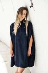 Pinstripe Poncho Dress, Women's Dress, Bastet Noir - Smash Marketing