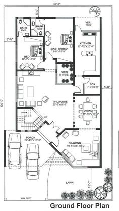 House Floor Design, 3 Storey House Design, Bungalow House Design, Duplex Floor Plans, Apartment Floor Plans, House Floor Plans, Indian House Plans, Country House Plans, Dream House Plans