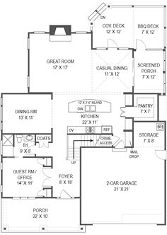 Cottage Farmhouse French Country Level One of Plan 72219