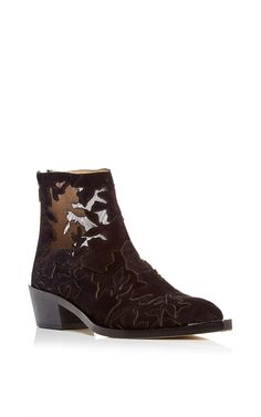 Suede And Lace Ankle Boot by ELIE SAAB for Preorder on Moda Operandi