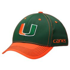 Miami Hurricanes Top of the World Krossover 2-Tone Memory 1Fit Flex Hat - Green/Orange