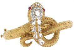 Diamond Snake Bangle Bracelet in 18K - Beladora Antique and Estate Jewelry