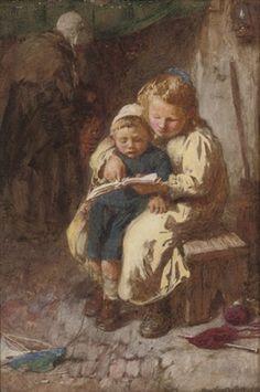 """The unwilling scholar"". John Henry Henshall (1856–1928), English painter."