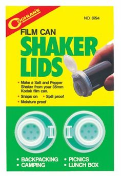 Coghlan's 8794 Film Can Shaker Lids - Pack of 2 by Coghlan's. $2.99. Coghlan's Film Can Shaker Lids can be used to make salt and pepper shakers from 35 millimeter kodak film cans. It is great for backpacking, picnics, lunch box or camping. It snaps on easily, and is spill and moisture proof.