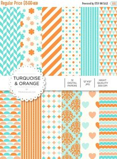 """80% off Entire Shop Digital Paper - Turquoise and Orange - Instant Download - Digital Artwork by mormonlinkshop  1.00 USD  Digital paper is a bit of a misnomer as no paper is involved! You can use these JPEG versions of 12""""x12"""" papers to create backgrounds photo mattes die-cuts etc. just as you would have used a traditional piece of paper. Of course you're able to use these over and over again no longer will you worry about making the """"wrong cut"""" and wasting your supply. Great for all ages…"""