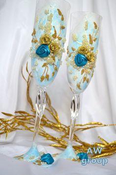 "Wedding Set Flutes Aquamarine Antique gold collection ""Harmony"" Something Blue Bohemian glass Champagne anniversary ceremony groom bride by ArtWeddingGroup on Etsy"