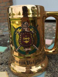 Vintage Greek Fraternity Mug...Omega Psi by MadeasAttic on Etsy