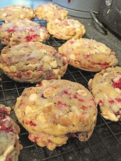Raspberry and white chocolate chip cookies