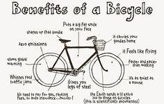 The benefits of a bicycle.