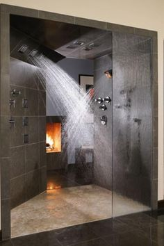 Yes and please!! Is that a fireplace?! My dream bath