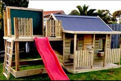 Side Slide Avail in four different sizes - see below - Cubby Central Backyard Slide, Backyard Ideas, Garden Ideas, Playhouse Outdoor, Outdoor Play, Outdoor Living, Cubby Houses, Play Houses, Let The Fun Begin