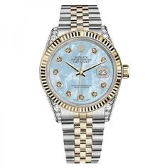 Pre-owned Rolex 31mm Datejust 2Tone Baby Blue MOP Mother Of Pearl Dial Diamond Watch featuring polyvore women's fashion jewelry watches 18 karat gold jewelry preowned watches pre owned watches diamond wrist watch dial watches