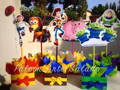 Toy Story Buzz Lightyear Woody and Jessie Wood Table centerpiece on base for birthday