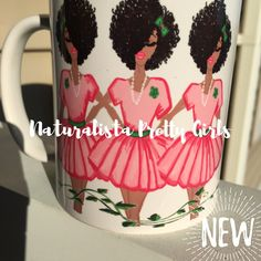 Pink and green with a splash of Pretty curls in their natural form! Perfect gift for Mom, sister, auntie, daughter or wife💗 About the mug: 11 oz Dishwasher and Microwave Safe Designed and created by Aka Sorority, Alpha Kappa Alpha Sorority, Sorority Life, Pretty Girl Rock, Pretty In Pink, Pretty Girls, Perfect Gift For Mom, Gifts For Mom