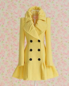 """Elegnt Turndown Collar Wool Coat"""
