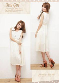 $15 Sleeveless DressesHH-373610#Dress-White  updown          Image Gallery:(Big Photos)      Product Information  Material:Chiffon  Size:  Length:104cm  Shoulder breadth:35cm  Bust:80-90cm  Waist:76cm