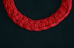 Red DIY bead necklace (check out our blog for more info)