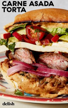 Carne Asada Torta = lunch of champions. Carne Asada Torta Recipe, Sandwich Recipes, Sandwich Ideas, Quick Pickled Onions, Mexican Food Recipes, Mexican Meals, Marinated Steak, Skirt Steak, Refried Beans