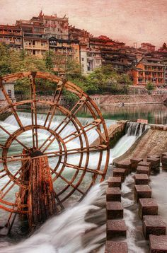 The Old Waterwheel, Feng Huang - China. On border of Hunan and Guizhou Provence.